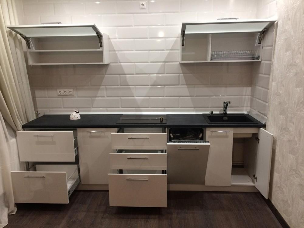 Белый кухонный гарнитур-Кухня МДФ в ПВХ «Модель 158»-фото3