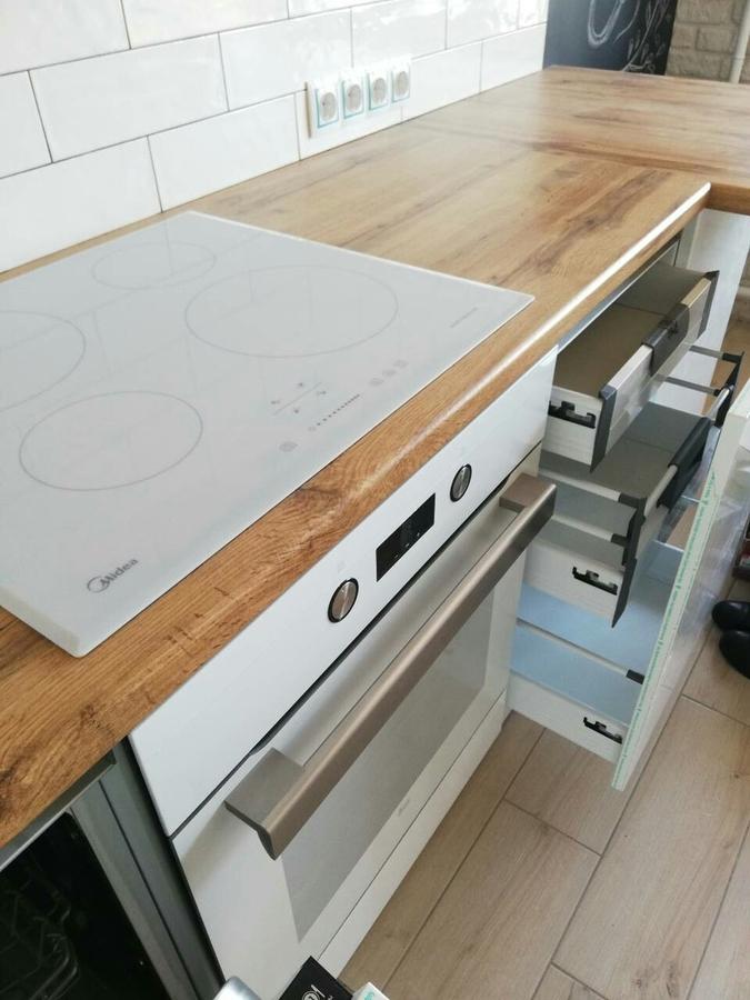 Белый кухонный гарнитур-Кухня МДФ в эмали «Модель 380»-фото7