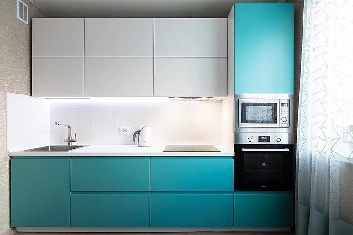 Белый кухонный гарнитур-Кухня МДФ в эмали «Модель 584»-фото1