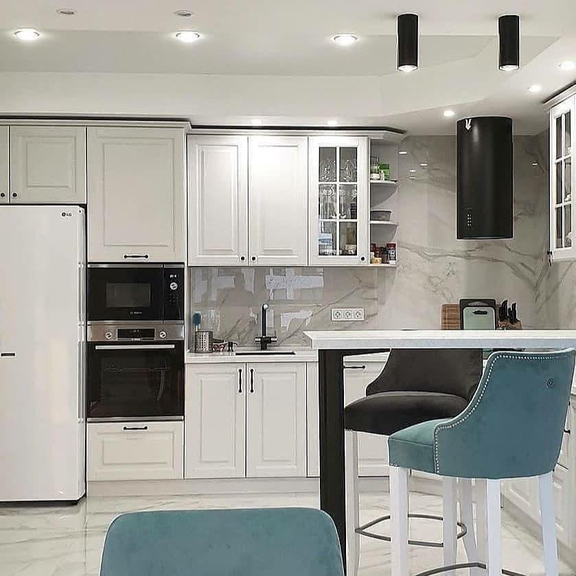 Белый кухонный гарнитур-Кухня МДФ в эмали «Модель 680»-фото1