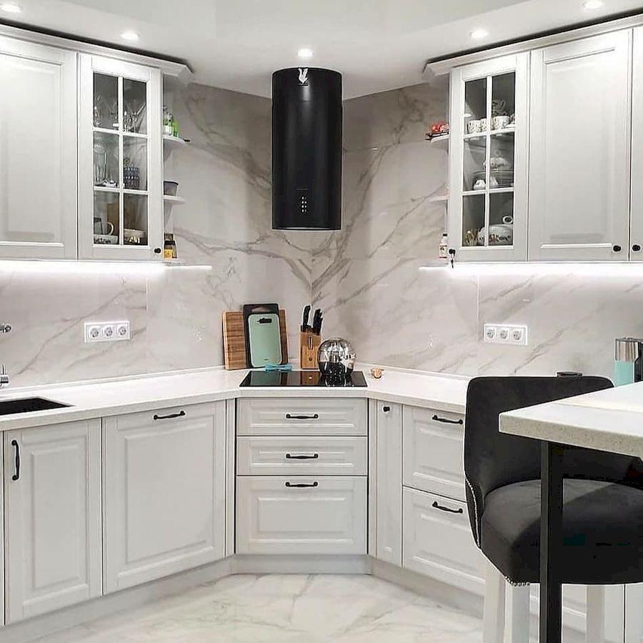 Белый кухонный гарнитур-Кухня МДФ в эмали «Модель 680»-фото3
