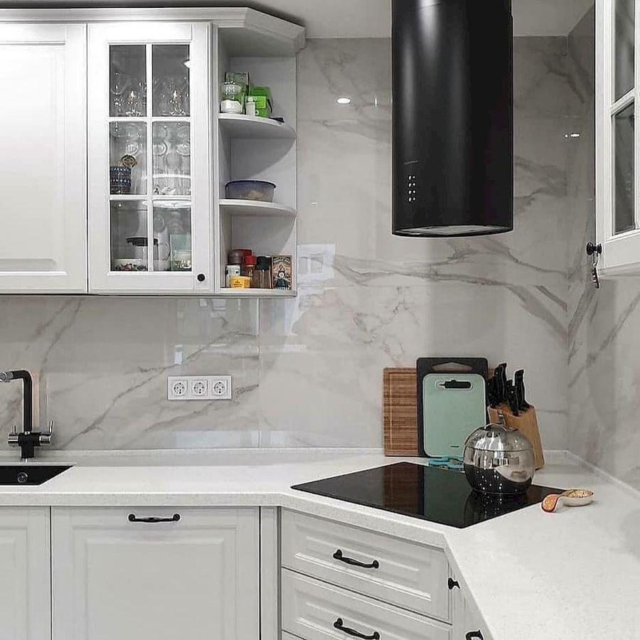 Белый кухонный гарнитур-Кухня МДФ в эмали «Модель 680»-фото4