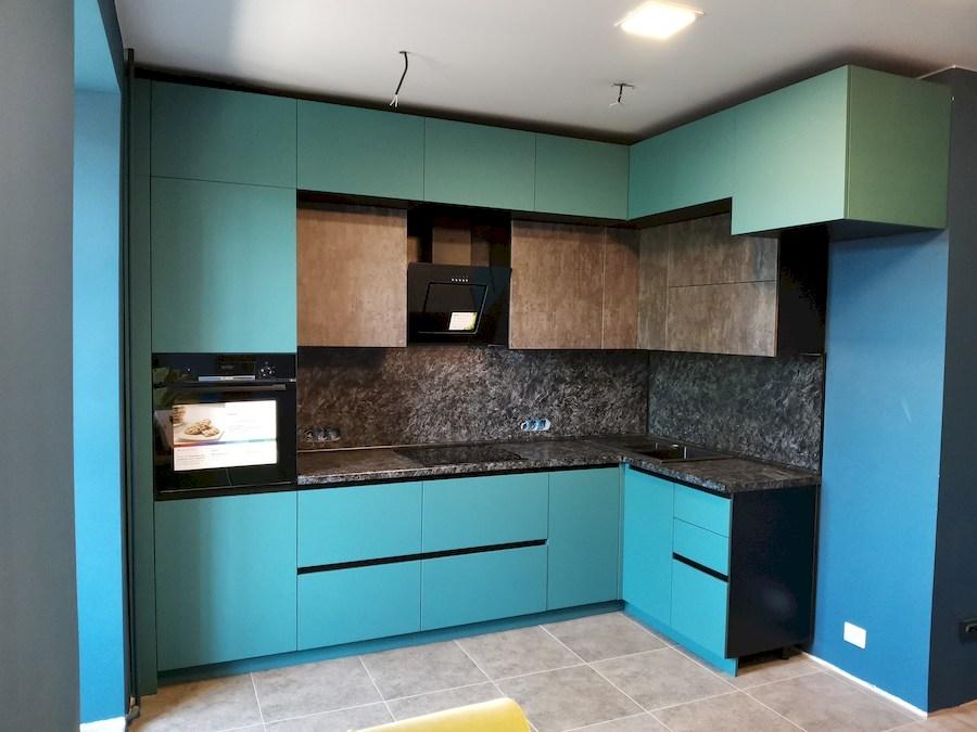 Купить бирюзовую кухню-Кухня МДФ в ПВХ «Модель 576»-фото1