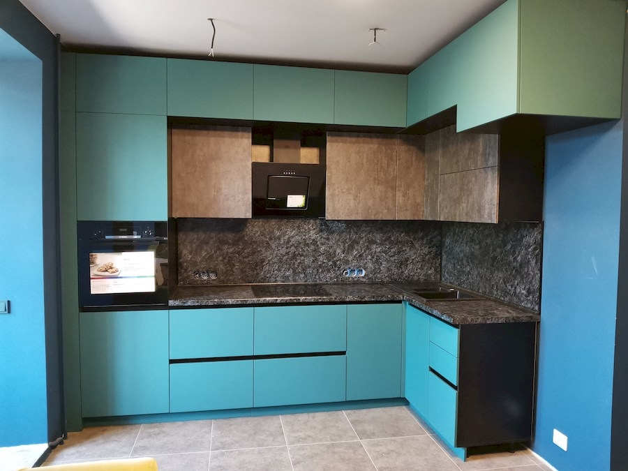 Купить бирюзовую кухню-Кухня МДФ в ПВХ «Модель 576»-фото3