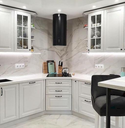 Белый кухонный гарнитур-Кухня МДФ в эмали «Модель 680»-фото5